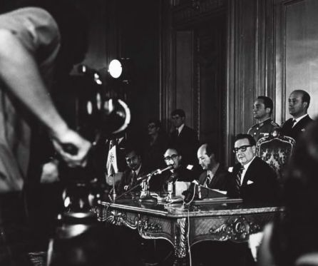 Allende announcing the nationalization of Chilean copper